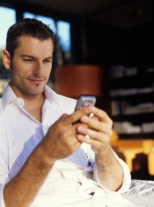 Man using social media on smart phone